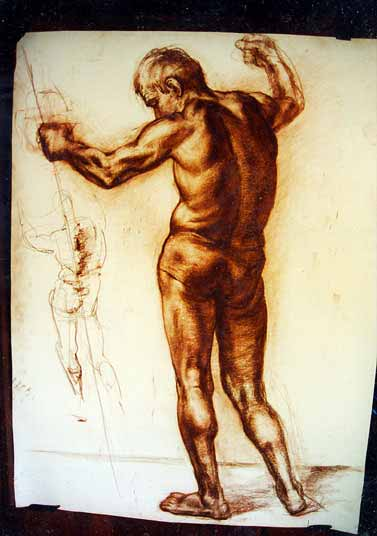 Sepia on paper , 3' x 5', 1998